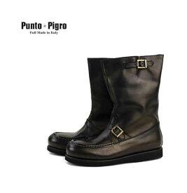 PUNTO PIGRO(プントピグロ)レザー ベルト付き エンジニアブーツ・NPP1553-0341502【メンズ】【D-4】