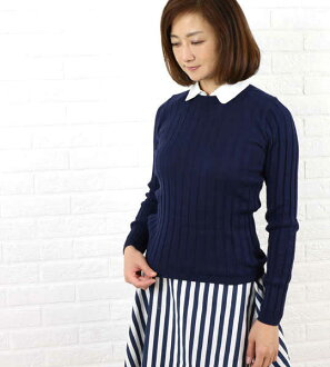 Rib knit pullover, E99103-0041501 with the BEATRICE (Beatrice Cos., Inc.) cupra cotton collar
