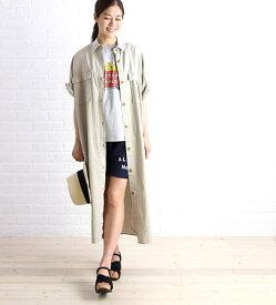 Midi-Umi(ミディウミ)コットン混 半袖 ミリタリー ビッグ ロング ワンピース シャツワンピース・1-752038-1261701【レディース】