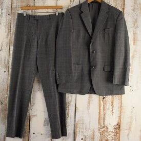 Calvin Klein チェック柄テーラードジャケット&スラックス SETUP スーツ セットアップ グレー カルバンクライン 【古着】 【ヴィンテージ】 【中古】 【メンズ】