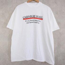 "90's USA製 ""CARNEGIE HALL"" Concert Hall T-shirt XL 90年代 アメリカ製 Tシャツ 白 白T ホワイト コンサート カーネギーホール 【古着】 【ヴィンテージ】 【中古】 【メンズ店】"