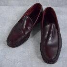 VINTAGE USA製 レザーローファー バーガンディ 27cm アメリカ製 革靴 レザーシューズ ワインレッド 【古着】 【ヴィンテージ】 【中古】 【メンズ店】