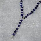 RORAN Glass Beads×Silver ネックレス ローラン ガラスビーズ クロス ペンダントトップ シルバー コンビ ブルー ネイビー 【古着】 【ヴィンテージ】 【中古】 【メンズ店】