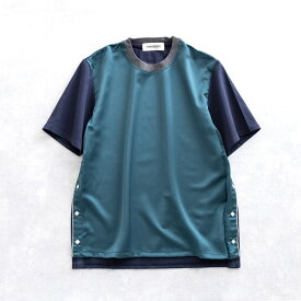 【SALE 50%OFF】 DISCOVERED WESTERN PULLOVER (GREEN×NAVY) DC-PF18-CU-08 ディスカバード ウエスタン プルオーバー サテン Tシャツ 日本製 メンズ 送料無料