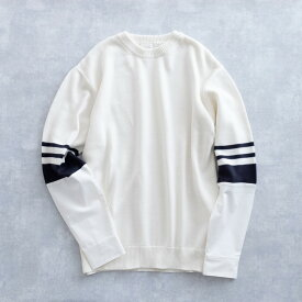 【SALE 50%OFF】 DISCOVERED SHIRT SLEEVE KNIT (2色 WHITE/BLACK) DC-S17-KN-03 ディスカバード ニット 切り替え 異素材 コンビ メンズ 送料無料