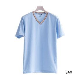 DANIELE ALESSANDRINI MAGLIA PERCHE' SI MC ST (2色 SAX/NAVY) 211-61741005 ダニエレアレッサンドリーニ Vネック ワッペン Tシャツ カットソー イタリア メンズ 送料無料