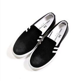 DANIELE ALESSANDRINI SLIP ON ELASTICO RIGHE (BLACK) 211-69382001 ダニエレアレッサンドリーニ スリッポン カモシカ革 羊革 スニーカー シューズ 靴 イタリア メンズ 送料無料