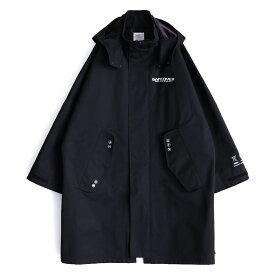 SHAREEF BENCH COAT (Black) 19711001 シャリーフ ベンチコート プリント ボックスシルエット ハリ感 高密度 フード 取り外し ビッグシルエット コート 日本製 メンズ 送料無料