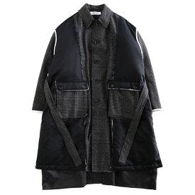 DISCOVERED CHECK NYLON COAT (BLACK) DC-AW19-CO-01 ディスカバード チェック インサイドアウト 異素材 切りっ放し ビッグシルエット ロングコート コート 日本製 メンズ 送料無料
