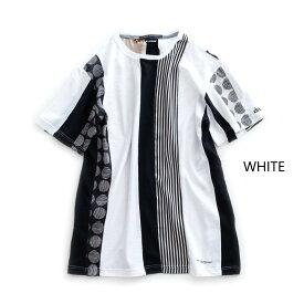 DANIELE ALESSANDRINI MAGLIA IN VARI MODI ST (2色 WHITE/BLACK) 211-21141012 DANIELEALESSANDRINI ダニエレアレッサンドリーニ 異素材 切り替え Tシャツ イタリア メンズ 送料無料