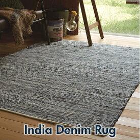 India Denim Rug Sサイズインド製 平織デニムラグ TIDE サイド 50cm×80cm