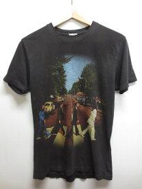 """【中古】The Beatles/ビートルズ """"Abbey Road"""" バンドTシャツ ブラック 【サイズ:XS位】【バンドT】【フェス系】【アメカジ】【小さめサイズ】【あす楽】【古着屋mellow楽天市場店】"""