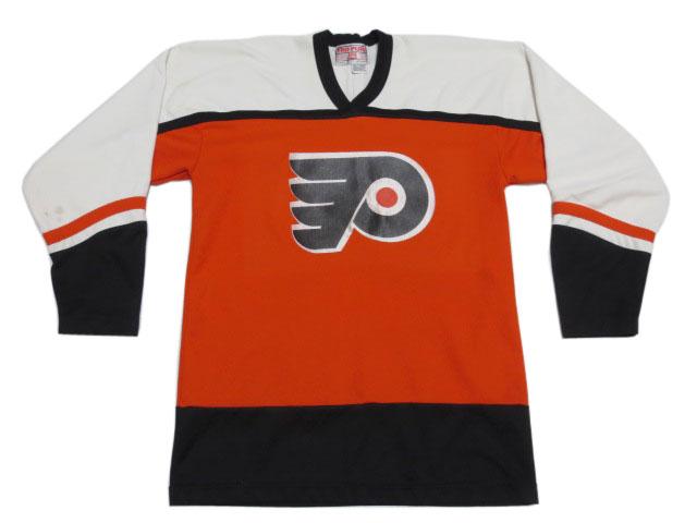 """【中古】TRU-PLAY NHL """"Philadelphia Flyers""""/フィラデルフィア・フライヤーズ ホッケージャージ 白×オレンジ×黒【サイズ:MEDIUM(38-40)】【#88/LINDROS】【アイスホッケー】【あす楽対応】【古着 mellow楽天市場店】"""