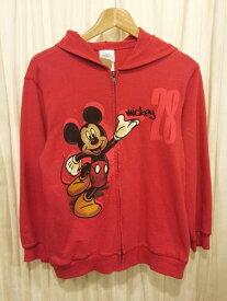 【中古】レディース Disney Store Mickey Mouse/ディズニーストア オフィシャル ミッキーマウス 長袖 ジップアップ スエットパーカー 赤【サイズ:Girl's L】【古着屋mellow楽天市場店】