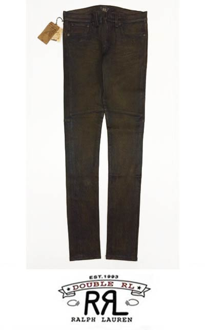 【新品】Women's Ralph Lauren RRL Stretch-Leather Skinny Pant/レディース ラルフローレン レザー スキニー パンツ 茶【SIZE:W26】【ラム レザー】【ストレッチ パンツ】【アウトレット】【古着 mellow楽天市場店】