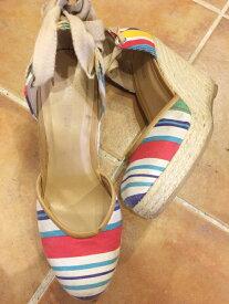 レディース Nine West Lace Up Wedge Heel Sandal/ナインウエスト ウェッジソール ストライプ レースアップサンダル 白系【Women's US6.5】【古着屋mellow楽天市場店】【中古】