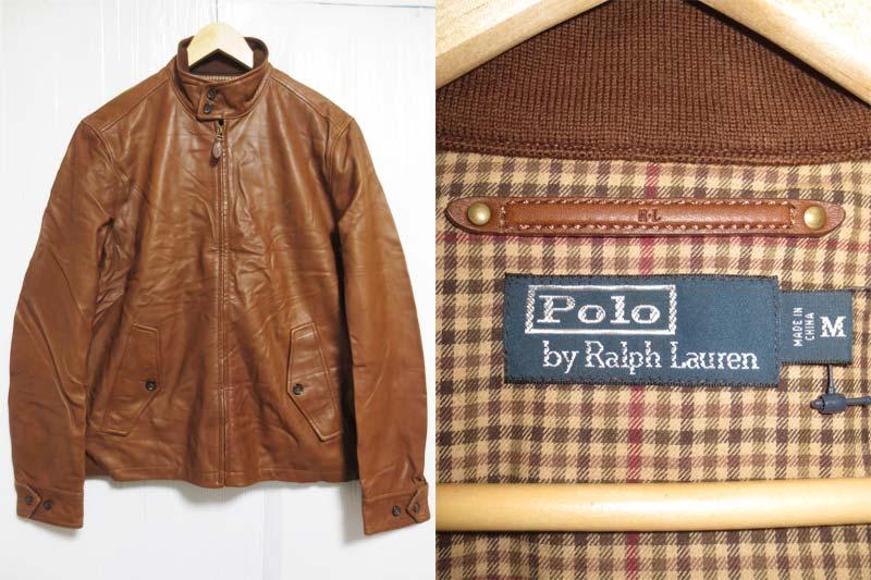 【サンプル品】POLO Ralph Lauren Cumberland Leather Jacket ラルフローレン ラムレザー バラクーダジャケット スイングトップ 茶 表記(M)【中古】【古着 mellow楽天市場店】