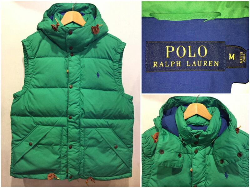 【サンプル品】Polo by Ralph Lauren/ラルフローレン フード付き ダウンベスト グリーン 表記(M)【中古】【古着 mellow楽天市場店】