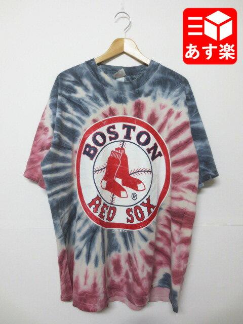 """MLB ボストン・レッドソックス """"Boston Red Sox""""プリント タイダイ Tシャツ 半袖 サイズ:L レッド×ネイビー×ホワイト 【古着】 古着 【中古】 中古 mellow【あす楽対応】【古着 mellow楽天市場店】"""