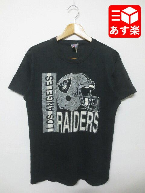 "NFL ""ロサンゼルス・レイダーズ/Los Angeles Raiders""プリント Tシャツ 半袖 表記:L ブラック Made in U.S.A【古着】 古着 【中古】 中古 mellow【あす楽対応】【古着 mellow楽天市場店】"