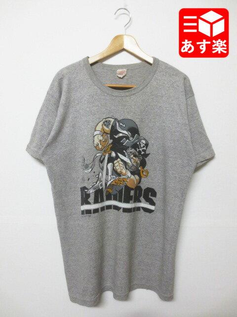 "NFL ""レイダーズ/Raiders""プリント Tシャツ 半袖 サイズ:XL ヘザーグレー Made in CANADA【古着】 古着 【中古】 中古 mellow【あす楽対応】【古着 mellow楽天市場店】"