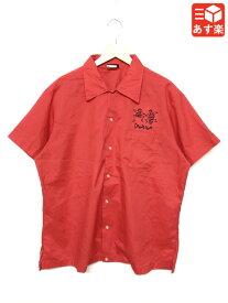 ヒルトン/Hilton ボウリングシャツ 半袖 刺繍入り サイズ:XL レッド Made in U.S.A【古着】 古着 【中古】 中古 mellow 【あす楽対応】【古着屋mellow楽天市場店】