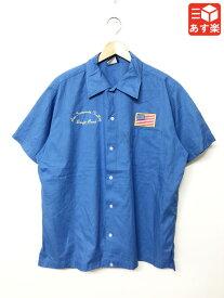 ヒルトン/Hilton ボウリングシャツ 半袖 星条旗ワッペン・刺繍 サイズ:XL ブルー Made in U.S.A【古着】 古着 【中古】 中古 mellow 【あす楽対応】【古着屋mellow楽天市場店】