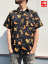 【50%オフ 4/13 12時まで】【ゆうパケット対応】ガーフィールド/Garfield 開襟 総柄 シャツ 半袖 サイズ:L ブラック…