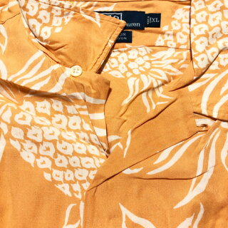 ポロラルフローレン/PolobyRalphLaurenレーヨンアロハシャツ半袖パイナップル柄サイズ:XLオレンジ【CLAYTON】【古着】古着【中古】中古mellow【あす楽対応】【古着屋mellow楽天市場店】