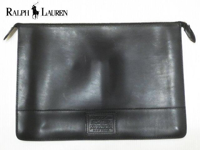 RALPH LAUREN ラルフローレン レザー クラッチバッグ ブラック Made in ITALY 【セカンドバッグ】【新品】【smtb-m】【あす楽対応】【古着屋mellow楽天市場店】