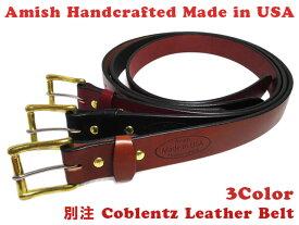 【新品】 Amish Handcrfted 別注 Coblentz Leather Belt レザー ベルト Made in U.S.A 【カラー:BURGUNDY , BLACK , BROWN】【サイズ:32 , 34 , 36 , 38 , 44】【あす楽対応】【古着屋mellow楽天市場店】
