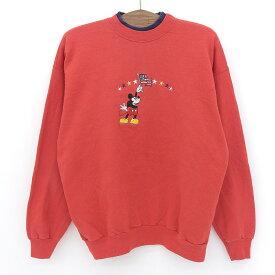 Disney Mickey/ディズニー ミッキー刺繍 スウェット トレーナー 長袖 サイズ:表記不明 レッド 【古着】 古着 【中古】 中古 mellow 【あす楽対応】【古着屋mellow楽天市場店】