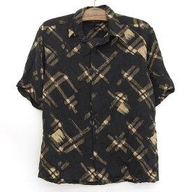 claiborne シルク ボックスシャツ 半袖 総柄 サイズ:M ブラック×ベージュ 【古着】 古着 【中古】 中古 mellow 【あす楽対応】【古着屋mellow楽天市場店】