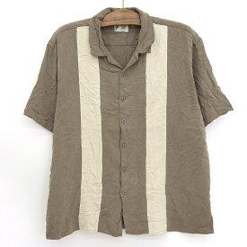 【50%オフ 4/13 12時まで】Vintage Silk 開襟 シルク ボックスシャツ ライン入り 半袖 サイズ:XL グレーブラウン 【古着】 古着 【中古】 中古 mellow オープンカラー 【あす楽対応】【古着屋mellow楽天市場店】