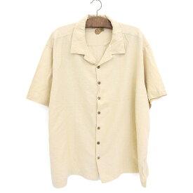 Caribbean 半袖 シルク混 ボックスシャツ 刺繍 オープンカラー ループシャツ サイズ:3X 生成り 【古着】 古着 【中古】 中古 mellow 【あす楽対応】【古着屋mellow楽天市場店】
