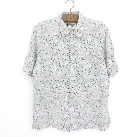 Vintage Silk 半袖 シルク ボックスシャツ 総柄 サイズ:XL ブルーグリーン×ホワイト 【古着】 古着 【中古】 中古 mellow 【あす楽対応】【古着屋mellow楽天市場店】