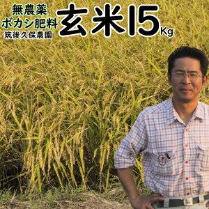 無農薬 ボカシ肥料栽培米15Kg|玄米 福岡県産 元気つくし筑後久保農園無農薬 玄米自然栽培米