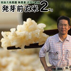【クーポンで5%割引】無農薬 ボカシ肥料 発芽前玄米 2Kg?福岡県産 ゆめつくし0.5分づき米筑後久保農園自然栽培米