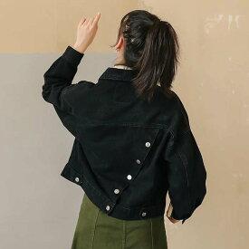 バックななめボタンデニムジャケット レディース アフター ジャンパー ジャケット デニム Gジャン 羽織 春 スプリング 2020春夏 ブラック S/M/L