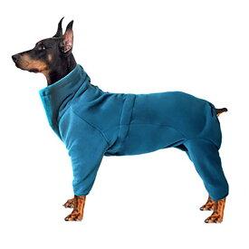 【送料無料】フリースロンパース スタンドネック 背中ファスナー フリース ロンパース 脱着簡単 ペット 犬 服 ドックウエア ギャザー調節可 あったか防寒 21 秋 冬 XL 2XL 3XL ブルー ネイビー 中型犬 大型犬