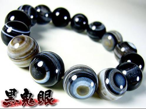 当店最大14mm【黒】天眼瑪瑙=特選=天然石パワーストーンブレスレット