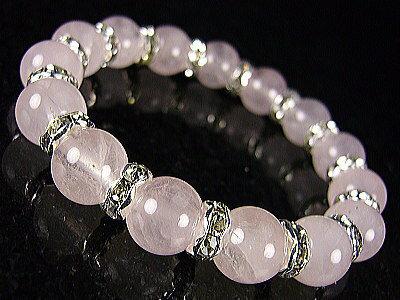 ローズクォーツ パワーストーン天然石ブレスレット=ロンデル飾り=10mm玉/恋愛の石