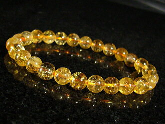 With Rainbow lame! Feng Shui = money = citrine natural stone power stone bracelet / 7 mm/11, birth stone and one of a kind