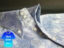 かりゆしウェア結婚式に アロハシャツ 沖縄 メンズ ボタンダウン 半袖 クールビズ Yシャツ ワイシャツ 【楽ギフ_包装】 【rcp】 おしゃれ 限定 青 ブルー ハイビスカス(mshi-bu02-0018)