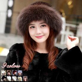 ファー帽子 ファーハット ミンクファーキャップ 編込み帽子 fox リアルファーキャップ レディース帽子 冬小物 防寒ボウシ 10色