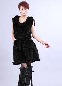 ミンクファー ロング ベスト フード付 ロングコート ミンクコート ファーコート 毛皮コート 婦人 レディース 編込みp5