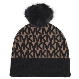 マイケル コース MICHAEL Michael Kors レディース ニット 帽子【All Over Logo Pompom Hat】D Camel/Blk