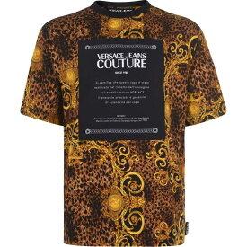 ヴェルサーチ VERSACE JEANS COUTURE メンズ Tシャツ トップス【All Over Leopard Baroque T Shirt】Black