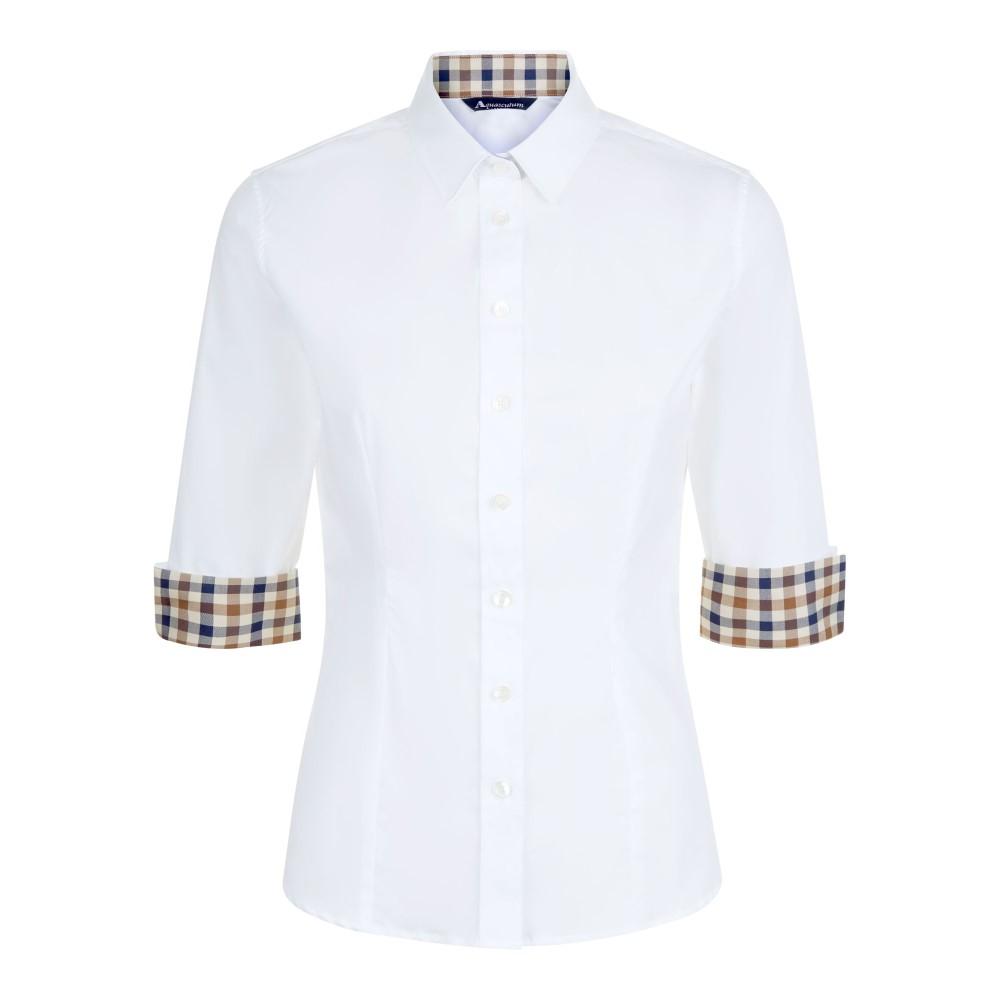 アクアスキュータム レディース トップス【Sadie Club Check Trim Shirt】white