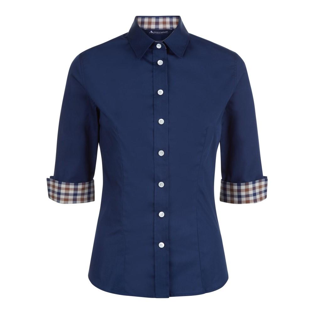 アクアスキュータム レディース トップス【Sadie Club Check Trim Shirt】navy